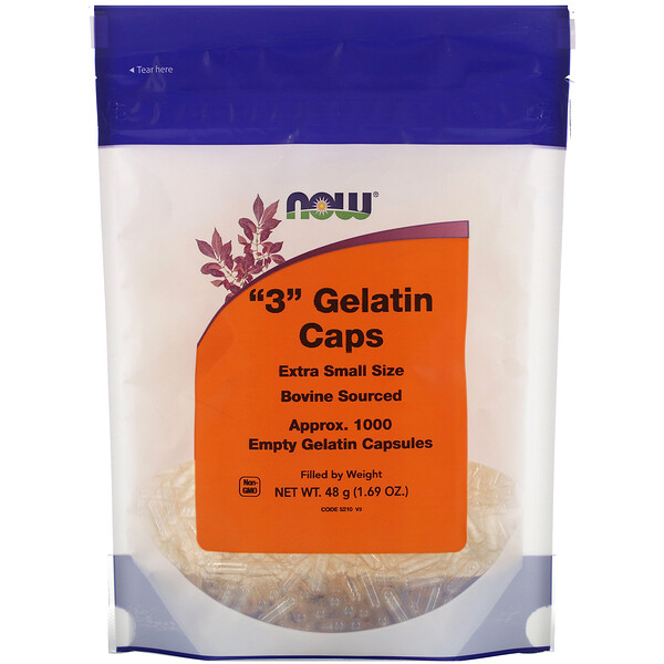"Now Foods, ""3"" Gelatin Caps, Extra Small Size, Approx. 1,000 Empty Gelatin Capsules"