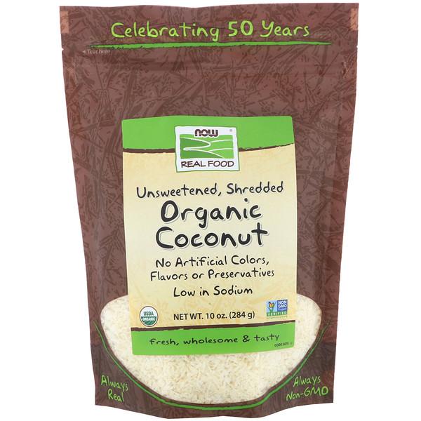 Now Foods, Кокосовый орех, неподслащенный, измельченный, органический, 10 унций (284 г)