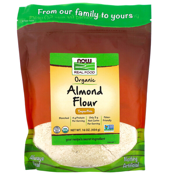 Now Foods, Real Food, органическая миндальная мука, очень мелкого помола, 454г (16унций)