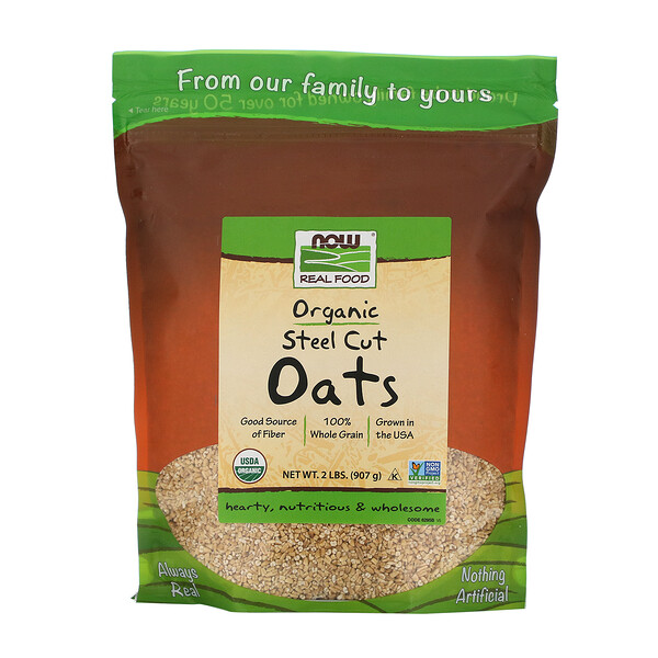 Now Foods, Real Food, Organic Steel Cut Oats, 2 фунта (907 г)
