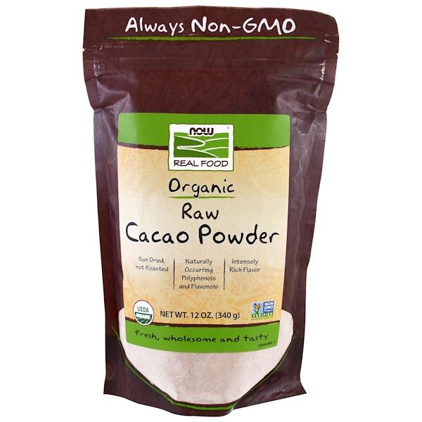 Real Food, органический сырой какао-порошок, 340 г (12 унций)
