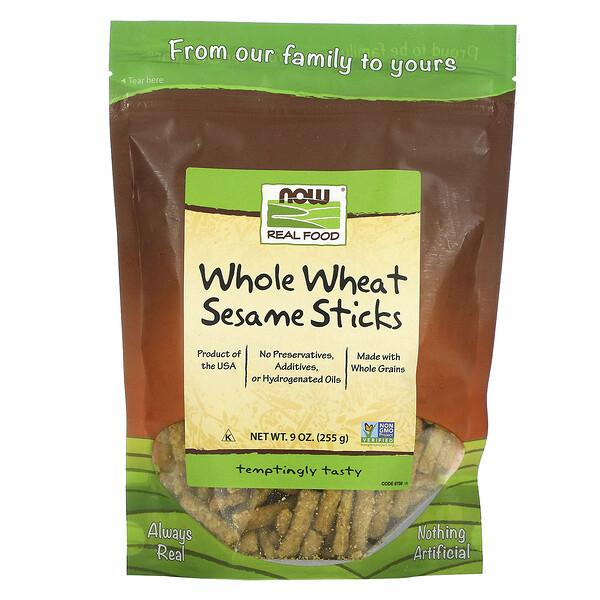 Now Foods, Real Food, палочки из цельной пшеницы и кунжута, 9 унций (255 г)