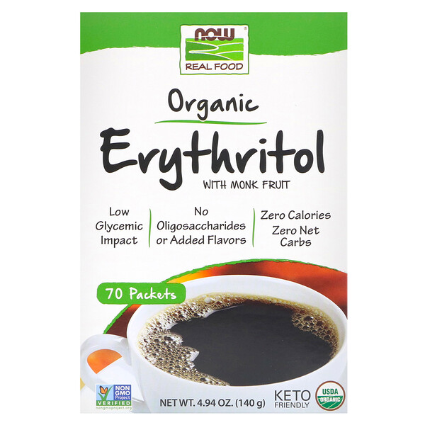 Now Foods, Real Food, органический эритритол с архатом, 70пакетиков