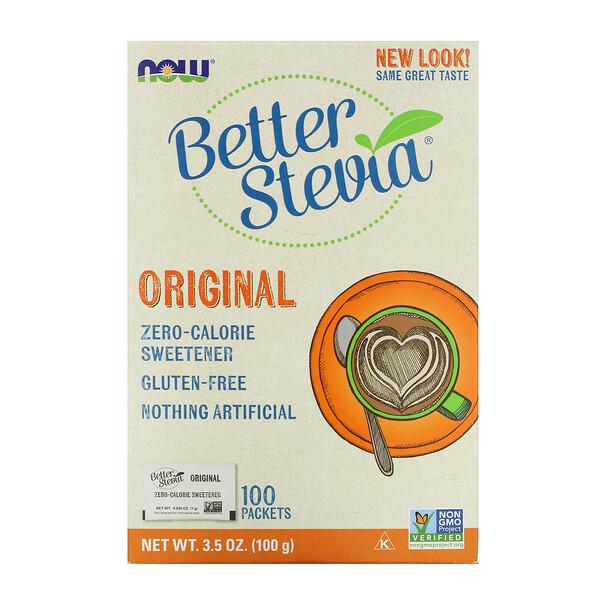 Original Better Stevia, подсластитель, не содержащий калорий, 100 пакетиков, 100 г (3,5 унции)