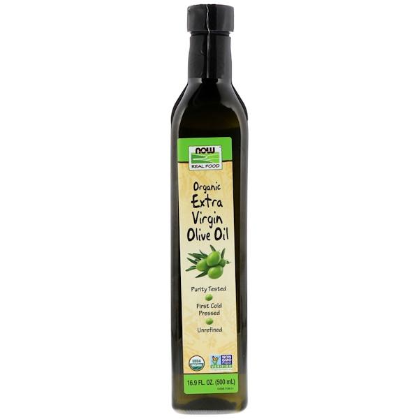 Now Foods, Real Food, органическое оливковое масло первого отжима, 500 мл