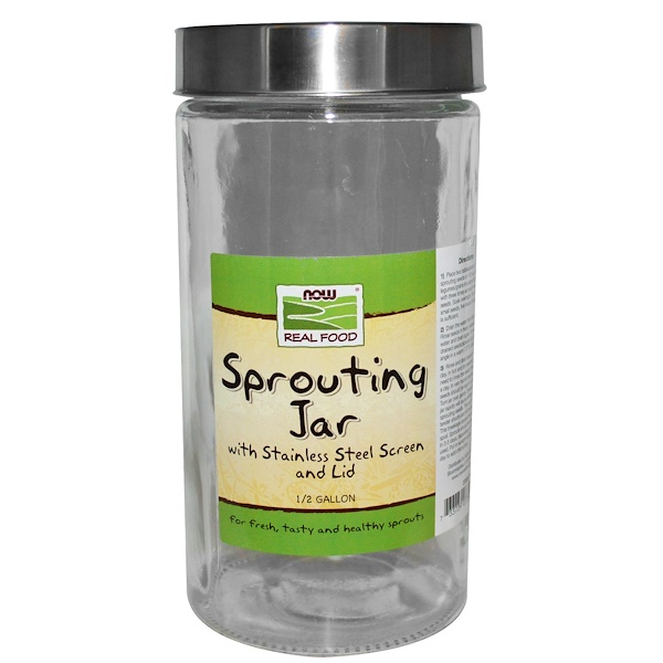 Now Foods, Sprouting Jar, 1,89 л (1/2 галлона)