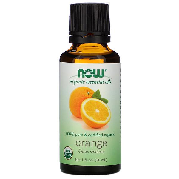 Органические эфирные масла, апельсин, 30 мл (1 жидкая унция)