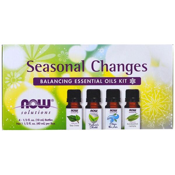 Набор эфирных масел для гармонизации сезонных изменений, 4 бутылки, 1/3 жидкой унции (10 мл) каждая.