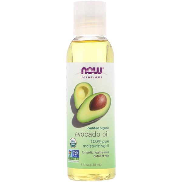 Now Foods, Solutions, органическое масло авокадо, 4 ж. унц. (118 мл)