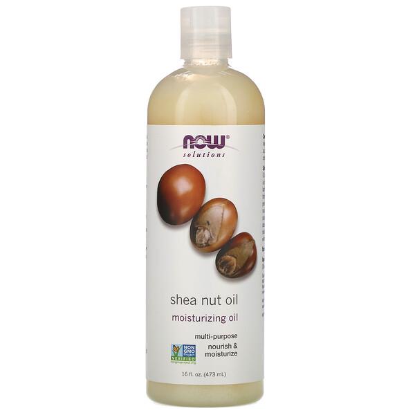 Now Foods, Solutions, масло орехов ши, чистое увлажняющее масло, 473 мл (16 жидких унций)