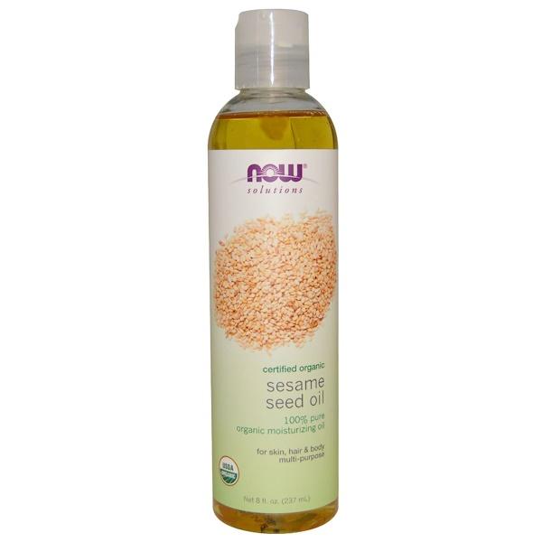 Now Solutions, кунжутное масло, сертифицированный органический продукт, 237 мл