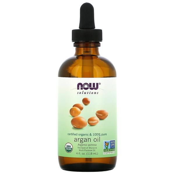 Now Foods, Solutions, сертифицированное на 100% чистое органическое аргановое масло, 118 мл (4 жидк.унций)