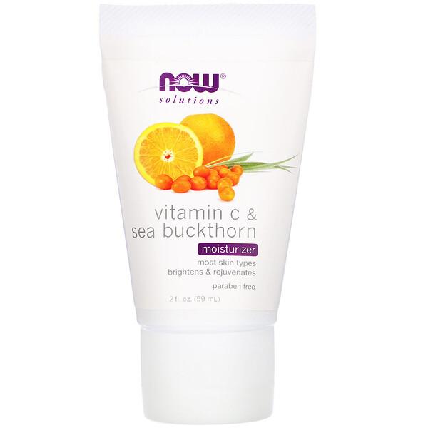 Now Foods, Solutions, увлажняющее средство, витамин С и облепиха, 59 мл (2 жидких унции)