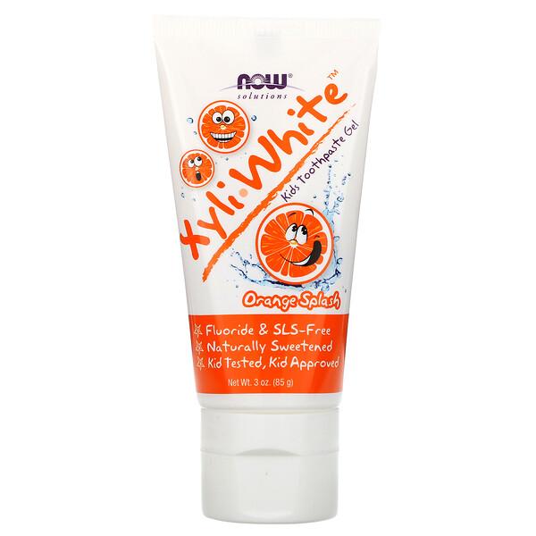 """Xyli White, Зубная паста-гель для детей, """"Апельсиновый всплеск"""", 3 унции (85 г)"""