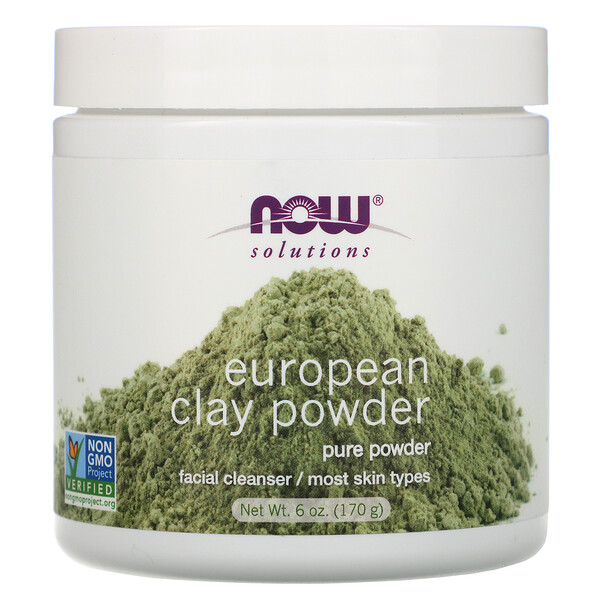 Now Foods, Решения, порошок из европейской глины, очищающее средство для лица, 170г