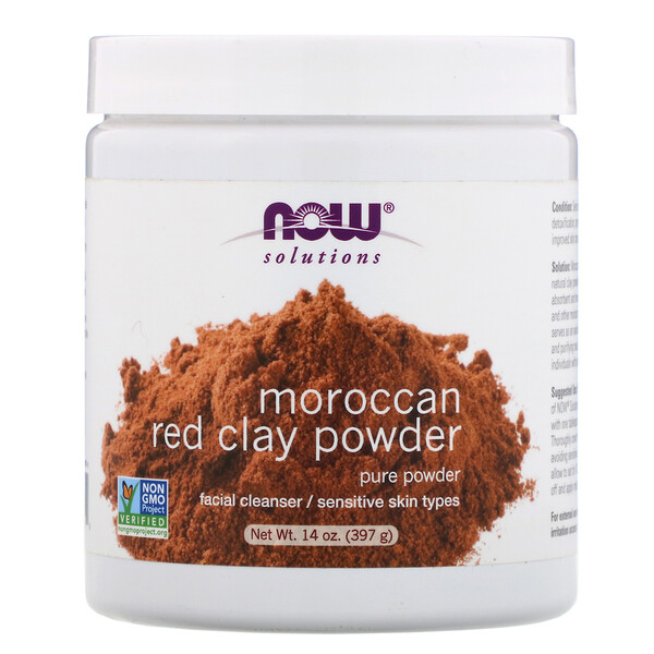Now Foods, Solutions,Moroccan Red Clay Powder, 14 oz (397 g)