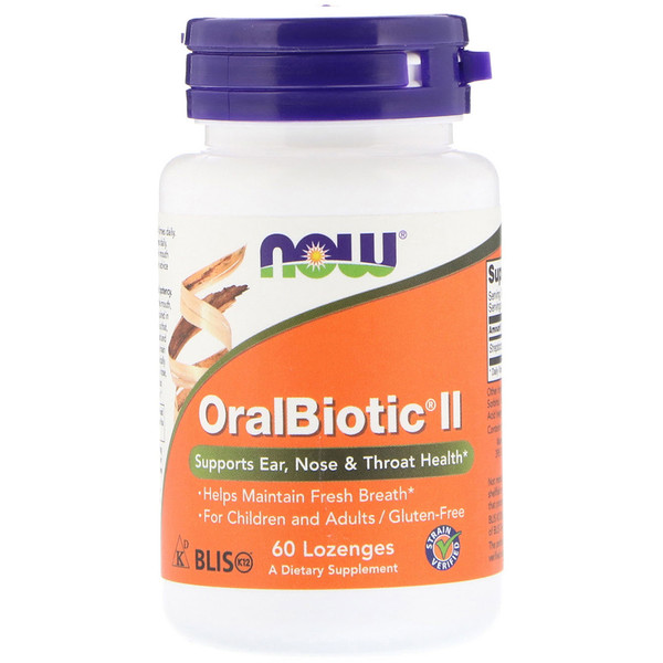 Now Foods, OralBiotic II, 60 леденцов (Discontinued Item)