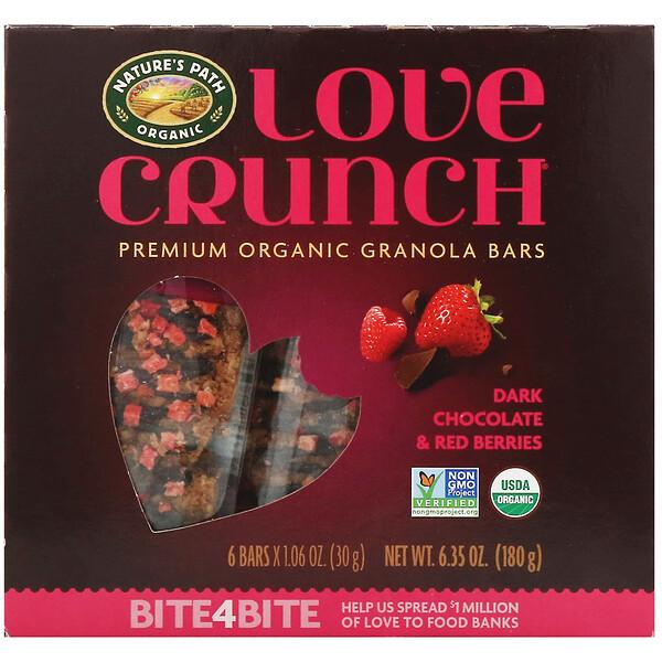 Nature's Path, Love Crunch, органические батончики с гранолой премиального качества, черный шоколад и красные ягоды, 6 батончиков, 30 г (1,06 унции) каждый