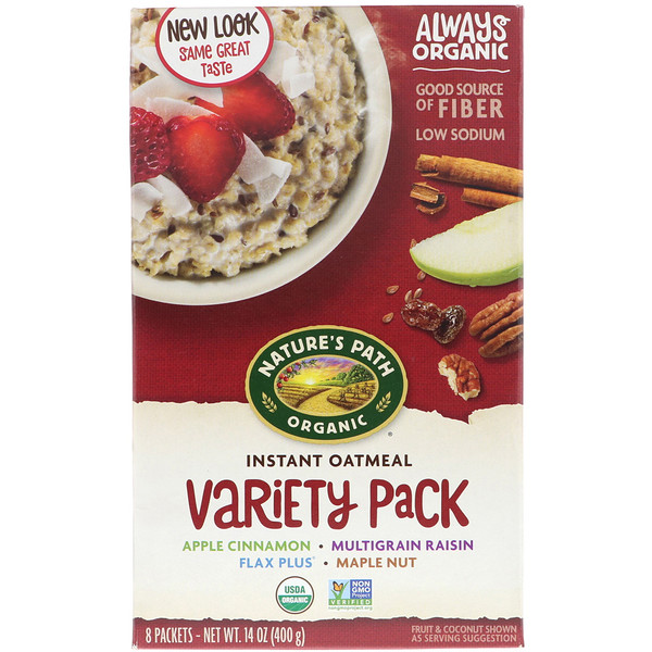 Organic Instant Oatmeal, Variety Pack, 8 Packets, 14 oz (400 g)