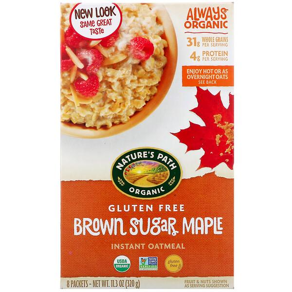 Органическая овсяная каша быстрого приготовления с коричневым сахаром и кленовым сиропом, 8 пакетиков, 320 г (11,3 унции)