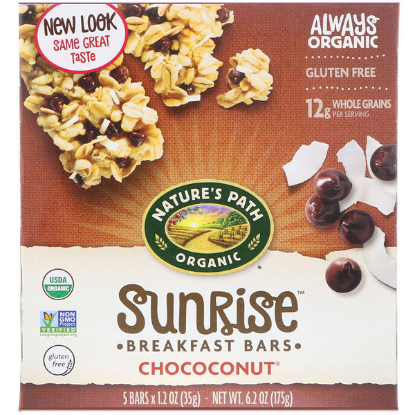Nature's Path, Organic, Sunrise Breakfast Bars, Chococonut, 5 Bars, 1.2 oz (35 g) Each (Discontinued Item)