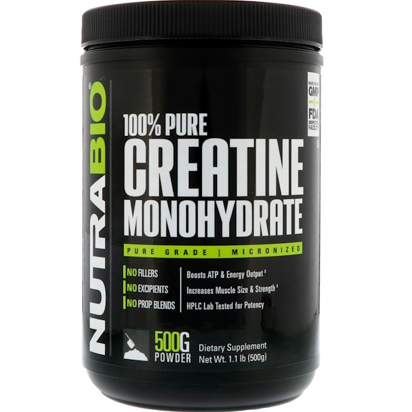 NutraBio Labs, Креатин моногидрат, 1,1 фунта (500 г) (Discontinued Item)