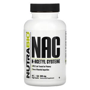 NutraBio Labs, NAC, N-Acetyl Cysteine, 600 mg, 150 Veggie Capsules