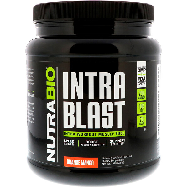NutraBio Labs, Intra Blast, Intra Workout Muscle Fuel, Orange Mango, 1.6 lb (724 g)