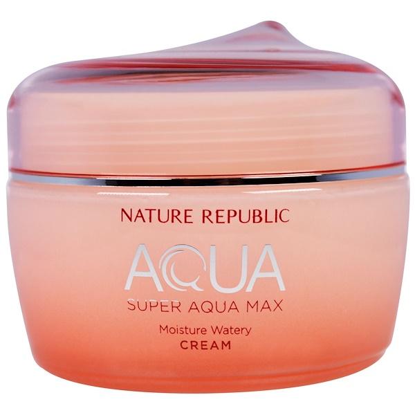 Nature Republic, Аква, Супер Аква Макс, увлажняющий бесцветный крем, 2,7 жидк. унц. (80 мл) (Discontinued Item)