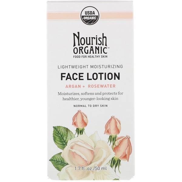 Nourish Organic, Lightweight Moisturizing Face Lotion, Argan + Rosewater, 1.7 fl. oz (50 ml) (Discontinued Item)