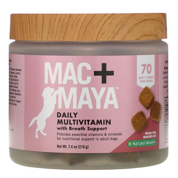 Mac + Maya, мультивитаминная добавка для ежедневного приема, для поддержки дыхательной системы, для собак, 70мягких жевательных таблеток