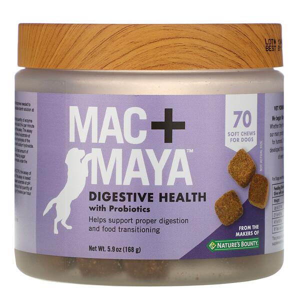Nature's Bounty, Mac + Maya, добавка для здоровья пищеварительной системы с пробиотиками, для собак, 70мягких жевательных таблеток (Discontinued Item)