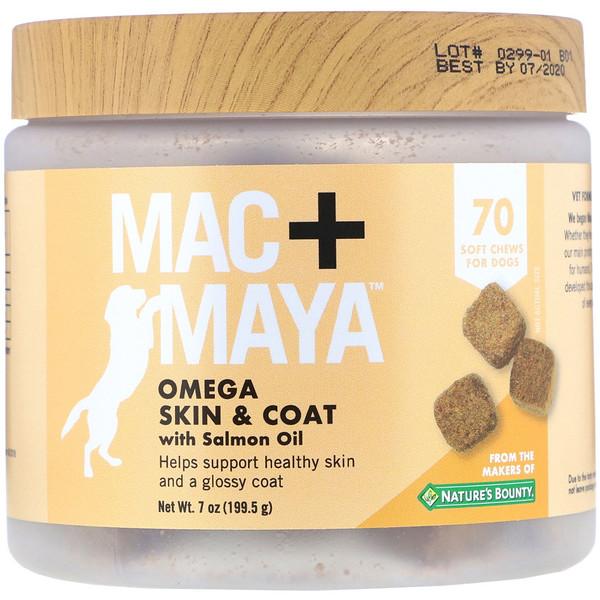 Mac + Maya, омега для здоровья кожи и шерсти с лососевым жиром, для собак, 70мягких жевательных таблеток