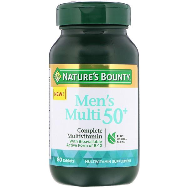 Nature's Bounty, Мультивитамин для мужчин от 50 лет, полный комплекс мультивитаминов, 80 таблеток