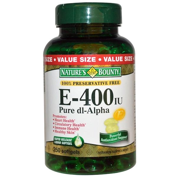 Nature's Bounty, E-400 IU, Pure dl-Alpha, 250 Softgels (Discontinued Item)