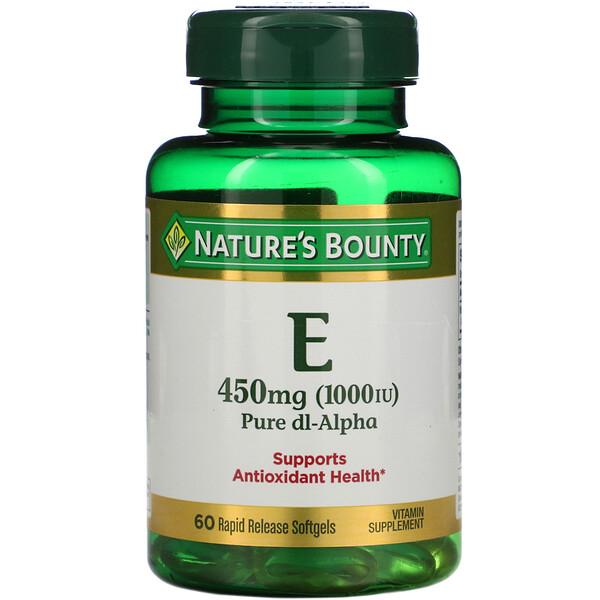 Nature's Bounty, Vitamin E, Pure Dl-Alpha, 450 mg (1,000 IU), 60 Rapid Release Softgels