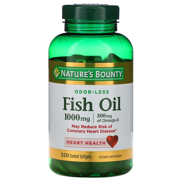 Рыбий жир, 1000 мг, 220 мягких капсул в оболочке