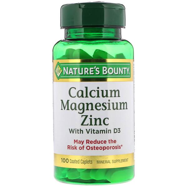 Nature's Bounty, Кальций, магний и цинк с витаминомD3, 100капсуловидных таблеток в оболочке
