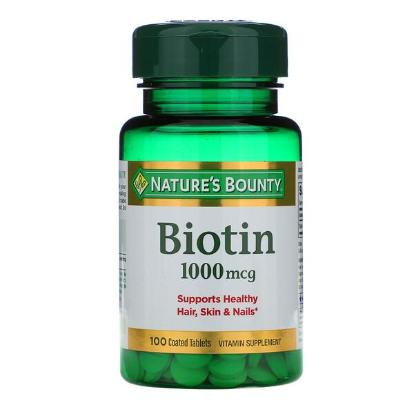 Биотин, 1000 мкг, 100 таблеток с оболочкой