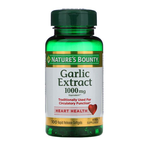 Экстракт чеснока, 1000 мг, 100 мягких таблеток с быстрым высвобождением