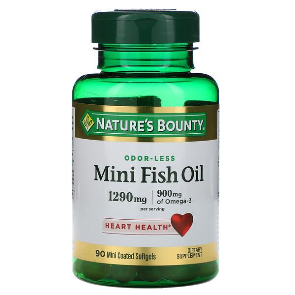 Nature's Bounty, Мини-рыбий жир, 1290мг, 90 мягких желатиновых мини-капсул