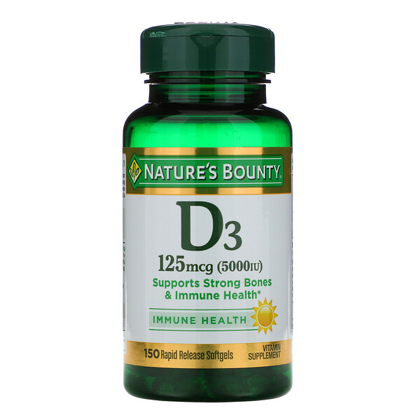 D3, Maximum Strength, 5000 IU, 150 Softgels