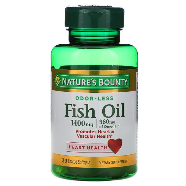 Рыбий жир, тройная сила, 1400 мг, 39 мягких желатиновых капсул в оболочке
