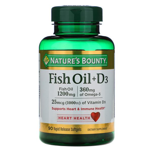 Nature's Bounty, Рыбий жир + D3, 90 быстро высвобождаемых мягких капсул