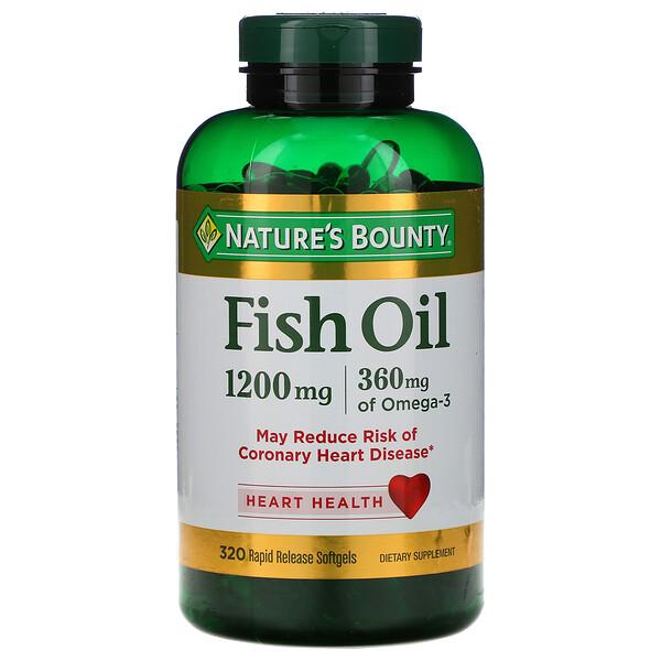 Рыбий жир, 1200 мг, 320 мягких желатиновых капсул с быстрым высвобождением действующего вещества