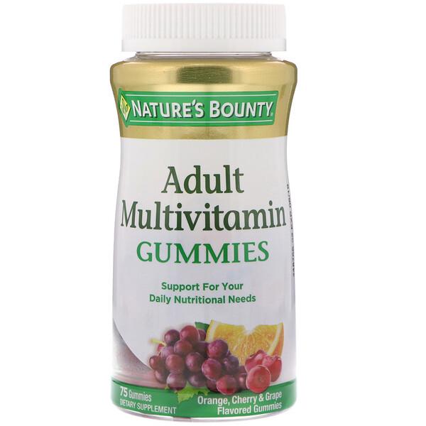 Nature's Bounty, Мультивитаминные жевательные конфеты для взрослых, вкусом апельсина, вишни и винограда, 75 штук