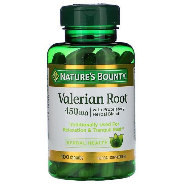 Nature's Bounty, Корень валерианы с патентованной травяной смесью, 450 мг, 100 капсул