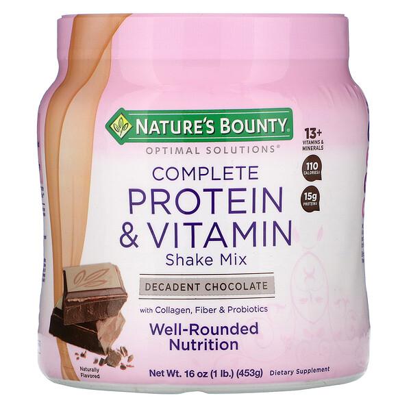 Nature's Bounty, Optimal Solutions, Смесь для приготовления напитков, богатая протеинами и витаминами, изысканный шоколад, 16 унций (453 г)