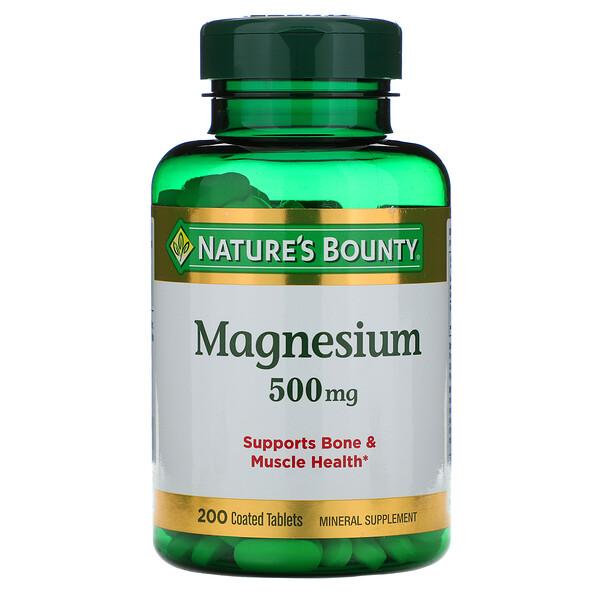 Nature's Bounty, Магний, 500 мг, 200 таблеток в оболочке