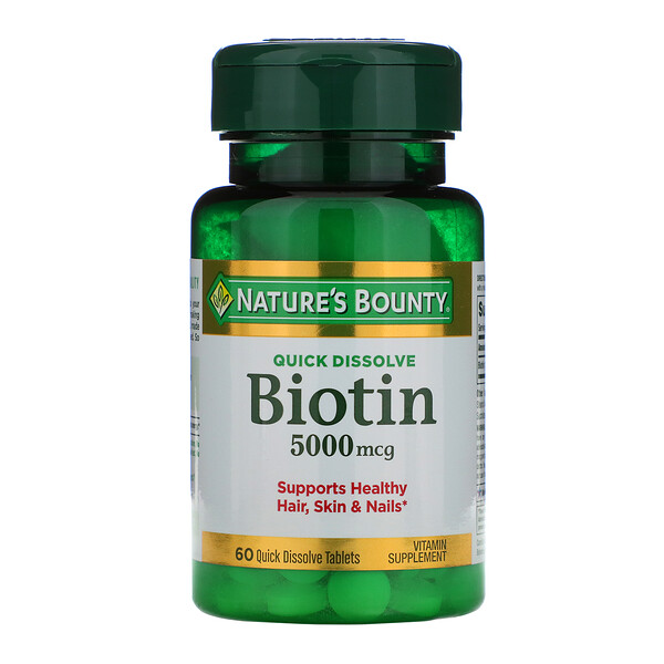 Nature's Bounty, Biotin, 5,000 mcg, 60 Quick Dissolve Tablets